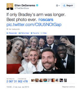 Newsjacking: el arte de aprovechar las noticias de actualidad para tu marca - ellen degeneres twitter 263x300