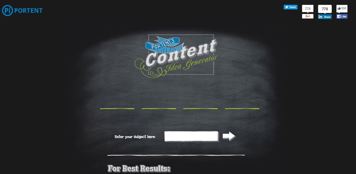Mejores Herramientas de Inbound Marketing Gratis y de pago - Content Idea Generator