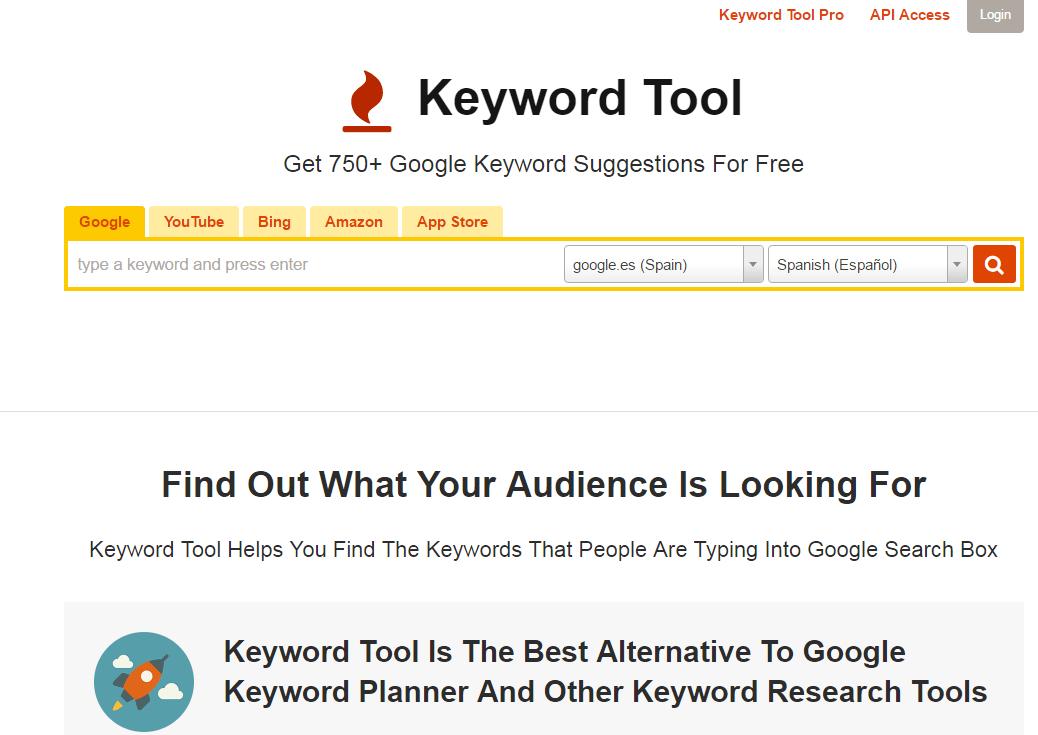 Mejores Herramientas de Inbound Marketing Gratis y de pago - Keyword Tool