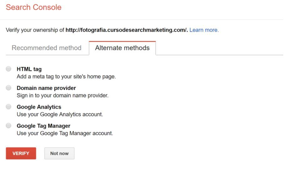 Cómo dar de alta una web en Google Search Console - Verificación Search Console