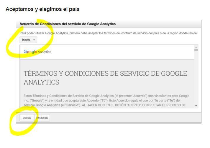 ¿Cómo dar de alta en Google Analytics una web? - aceptar condiciones