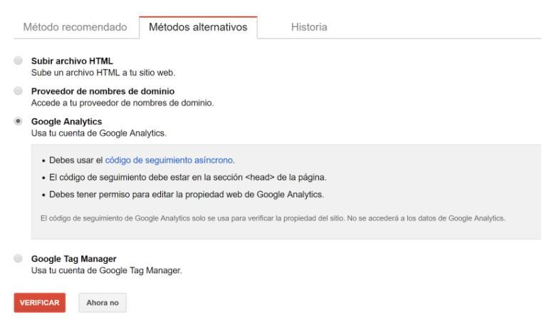 Cómo dar de alta una web en Google Search Console - Metodo alternativo google analytics