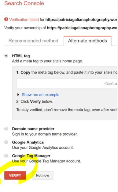 Cómo dar de alta una web en Google Search Console - Verificación alternativa