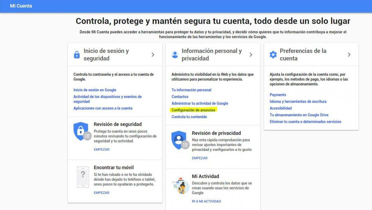 Todo lo que Google sabe de ti y cómo eliminarlo en sencillos pasos - Configuración de anuncios