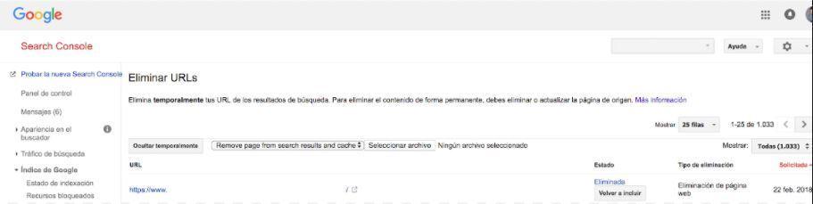 Cómo desindexar o eliminar urls de forma masiva en Search Console - Eliminación masiva de urls indexadas séptimo paso