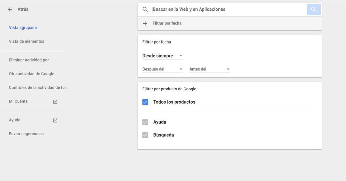 Todo lo que Google sabe de ti y cómo eliminarlo en sencillos pasos - Filtrar búsqueda Mi actividad