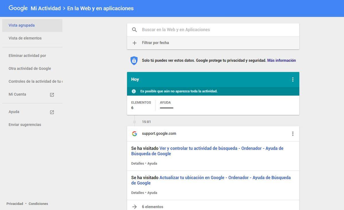 Todo lo que Google sabe de ti y cómo eliminarlo en sencillos pasos - Mi actividad