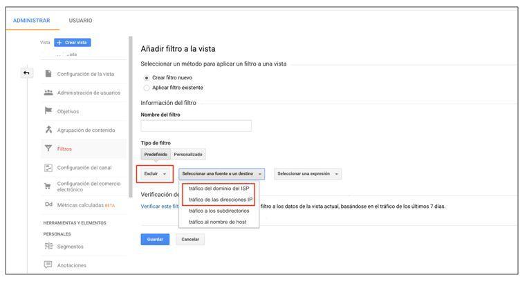 Cómo filtrar bots y spiders a través de google analytics - filtro patrones personalizados
