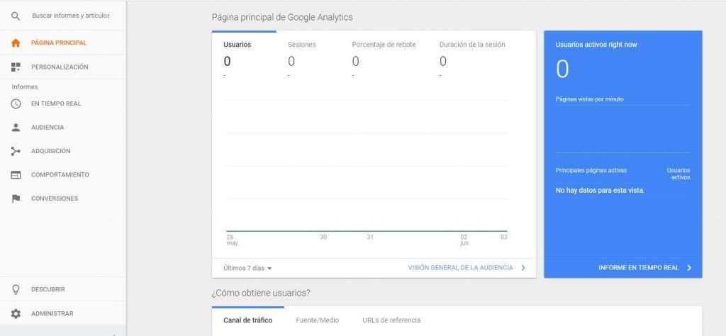 Guía de Google Analytics: funciones clave de Analítica Web - página principal google analytics 1024x474