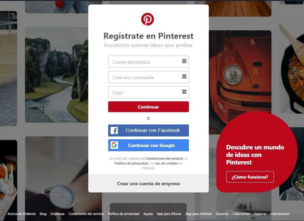 Qué beneficios puedes aportar Pinterest a las empresas - crear una cuenta en pinterest