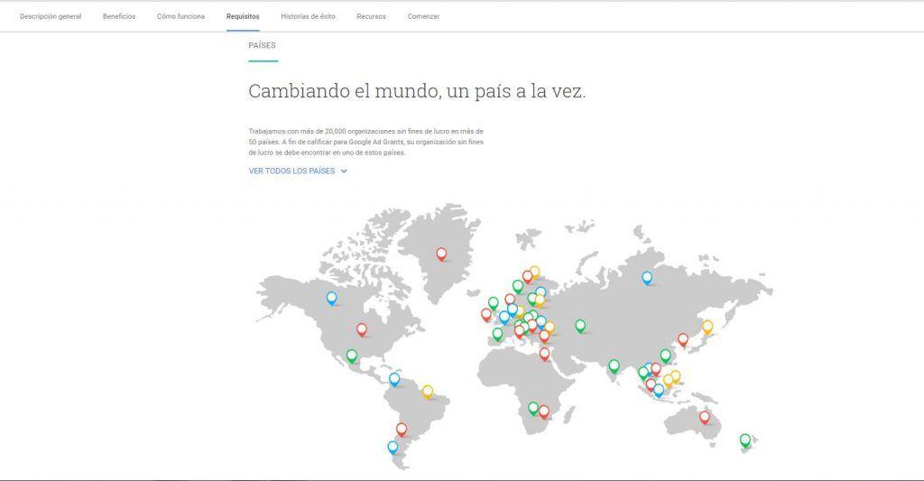 Google Ad Grants, publicidad para organizaciones sin ánimo de lucro - verificar que la organización se encuentra en uno de los países que acepta google grant 1024x533
