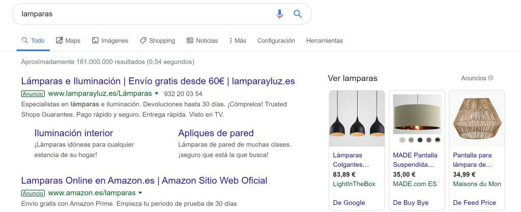 Cómo mejorar tus campañas con las novedades de Google Shopping - lamparas 1024x417