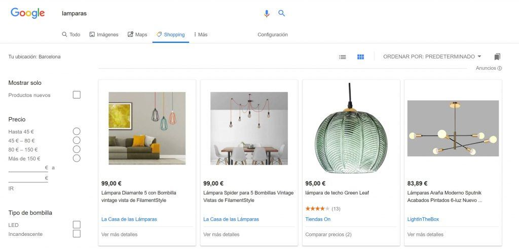 Cómo mejorar tus campañas con las novedades de Google Shopping - lamparas shoping 1024x493