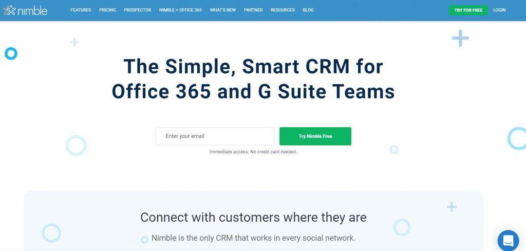 Descubre las mejores herramientas de software de CRM - Nimble CRM 1024x489