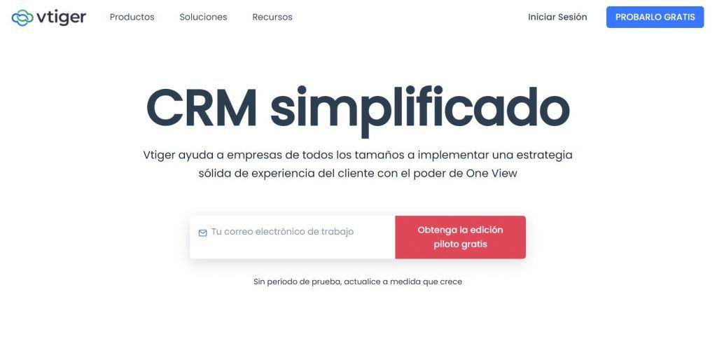 Descubre las mejores herramientas de software de CRM - Vtiger CRM 1024x484