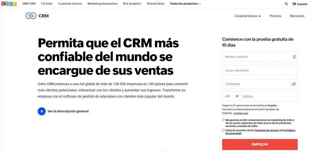 Descubre las mejores herramientas de software de CRM - zoho 1024x502